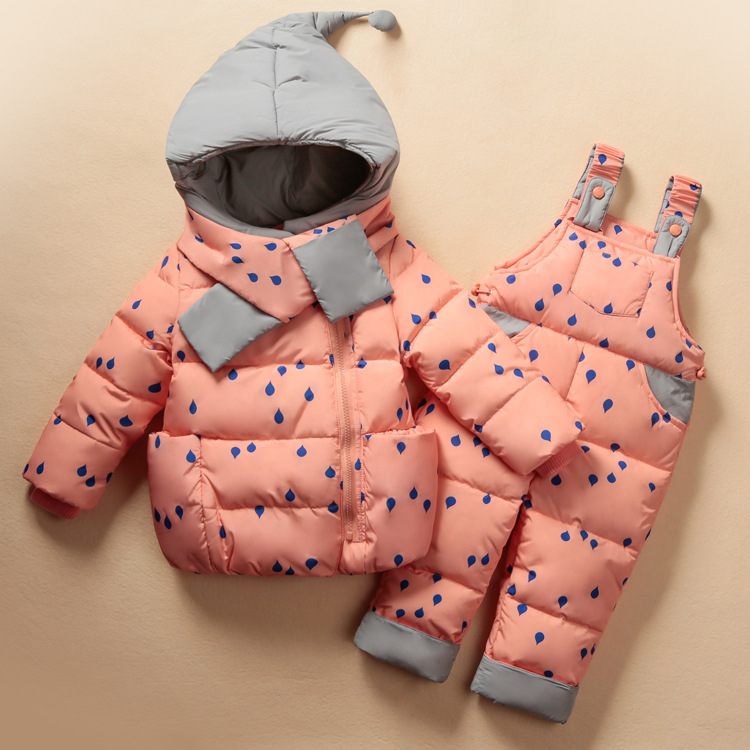 New 2017Winter Baby Girls clothing Sets Children Down Jackets Kids Snowsuit Warm baby Ski suit down Jackets Outerwear Coat+Pants 2016 china factory russia winter parka padding jackets trousers overcoat clothing sets for boys ski suit reima baby snowsuit