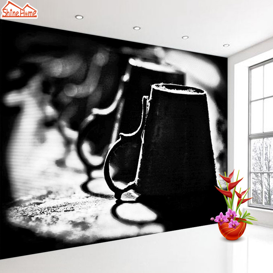 ShineHome-Wine Glasses Black and White Wallpaper for Bedroom Murals Rolls for 3d Wall Paper Wallpapers for 3 d  Living Room Bar shinehome red van gogh almond blossom painting wallpaper rolls for 3d walls wallpapers for 3 d living rooms wall paper murals