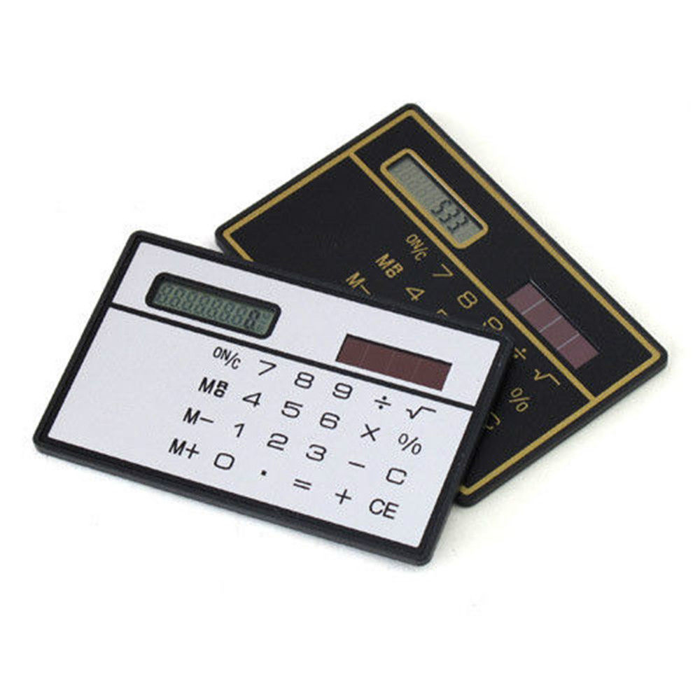 1pcs Mini Slim Credit Card Solar Power Pocket Basic 8-Digit Calculator Device Mathematics Teaching Students Stationery
