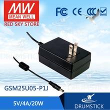 Бренд MEAN WELL представляет GSM25U05-P1J 5V 4A meanwell GSM25U 5V 20 Вт AC-DC Высокая надежность структура слежения за медицинской адаптера переменного тока