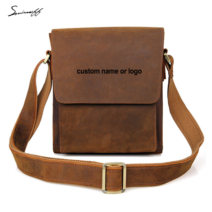 Fashion Man Leisure Shoulder bag Laser Engraved Name or Logo Notebook Small Laptop Bags Men Genuine Leather Messenger Bag customized crystal trophy engraved logo or words sports souvenirs grammy award glass champions rewards league cup