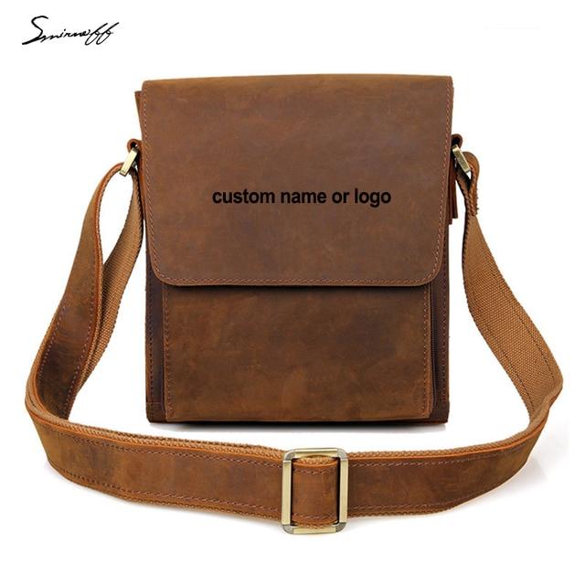 2977d7d47f5c Fashion Man Leisure Shoulder bag Laser Engraved Name or Logo Notebook Small  Laptop Bags Men Genuine Leather Messenger Bag