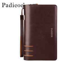 Padieoe Business Men Leather Wallets High Quality Double Zipper Day Clutch Bag Durable Luxury Organizer Long Wallets with Strap