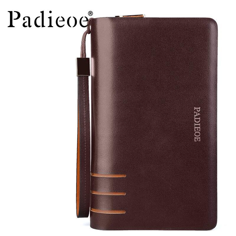 ФОТО Padieoe Unique Design Business Men Leather Wallets High Quality Double Zipper Clutch Bag Durable Luxury Organizer Long Wallets