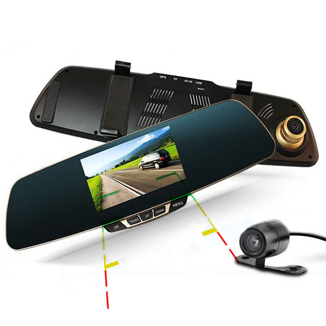 SALE 4.3 inch Car DVR Rearview camera DVR Mirror Full HD 1080P Dual Lens Camera DVR Video Recorder With Night Vision цена