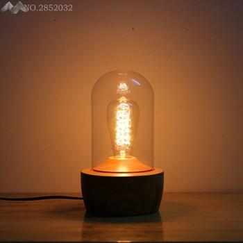 Loft Modern Table Lamp E27 Holder Edison Bulb,Wood Base Light,Dimmer Switch Control Desk Lamps,Bar Home Lighting Fixture Decor
