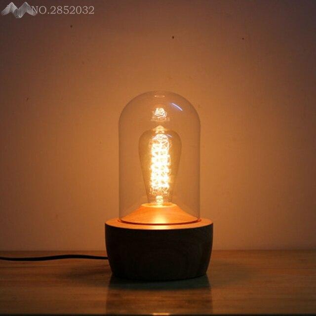 Loft Modern Table Lamp E27 Holder Edison Bulb Wood Base Light Dimmer Switch Control