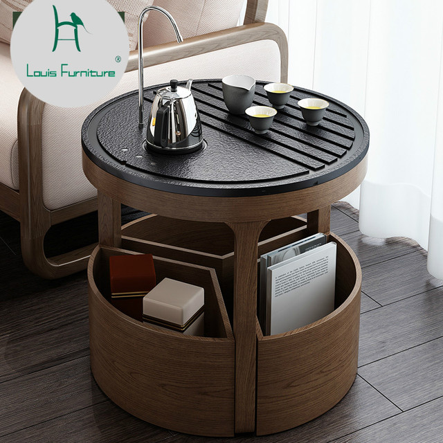 Louis Fashion Tea Table Automatic Water Float Window Small Simple Modern Solid Wood Multi Functional Furniture