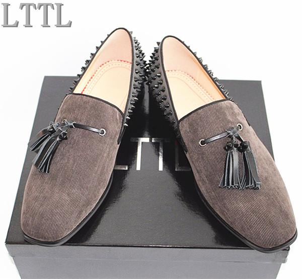 New LTTL Brand Design Men Shoes Low-heeled Loafers With the Tassels Rivets Breathable Handmade Casual Stripe Shoes Men Tide