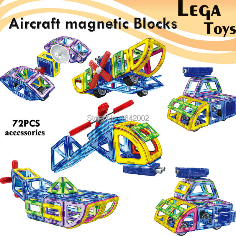 72Pcs Magnetic Designer 3D Building Blocks Aircraft Cars Models Kits Building Toy Plastic DIY Enlighten Bricks Educational Toys wange educational learning toys kids diy set toys cars plastic model kits building bricks blocks for boys 4 in 1 with motor