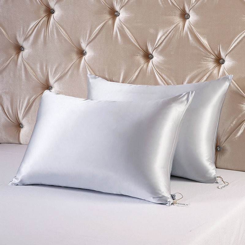 2pcs Lot 19momme Terse Hidden Zipper Silk Pillowcase 100