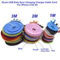 1 m/2 m/3 m de alta qualidade trançada plana 30 pin usb data sync carregamento charger cable cabo para iphone 4 4s 3g