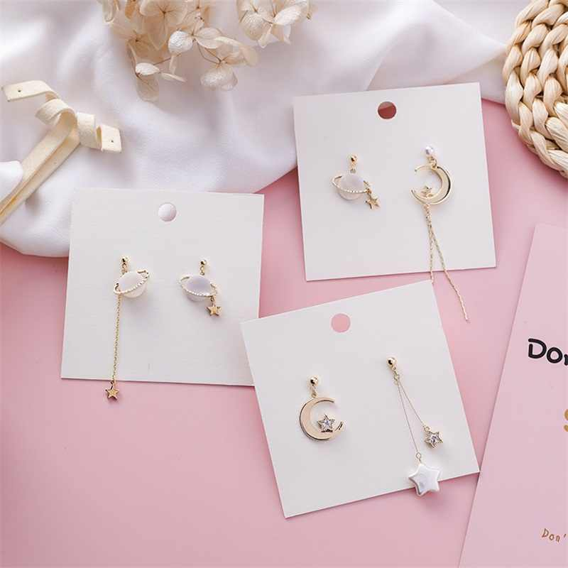 Korea Temperament Pearl Shell Stars Moon Planet Asymmetric Pendant Earrings Trendy Temperament Female Earrings Jewelry Gift