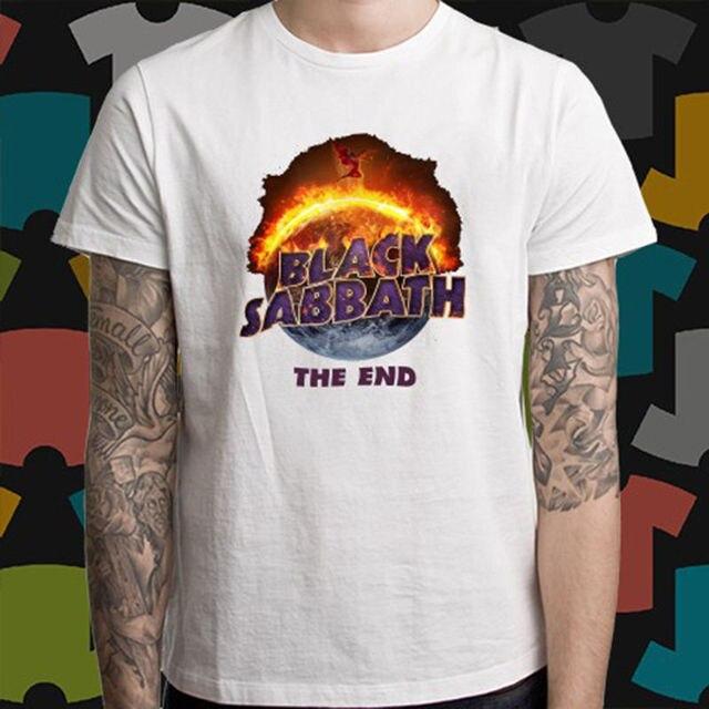 7d62fe9f00a532 Black Sabbath De End Tour Logo Heavy Metal Band mannen Wit T-Shirt Maat S