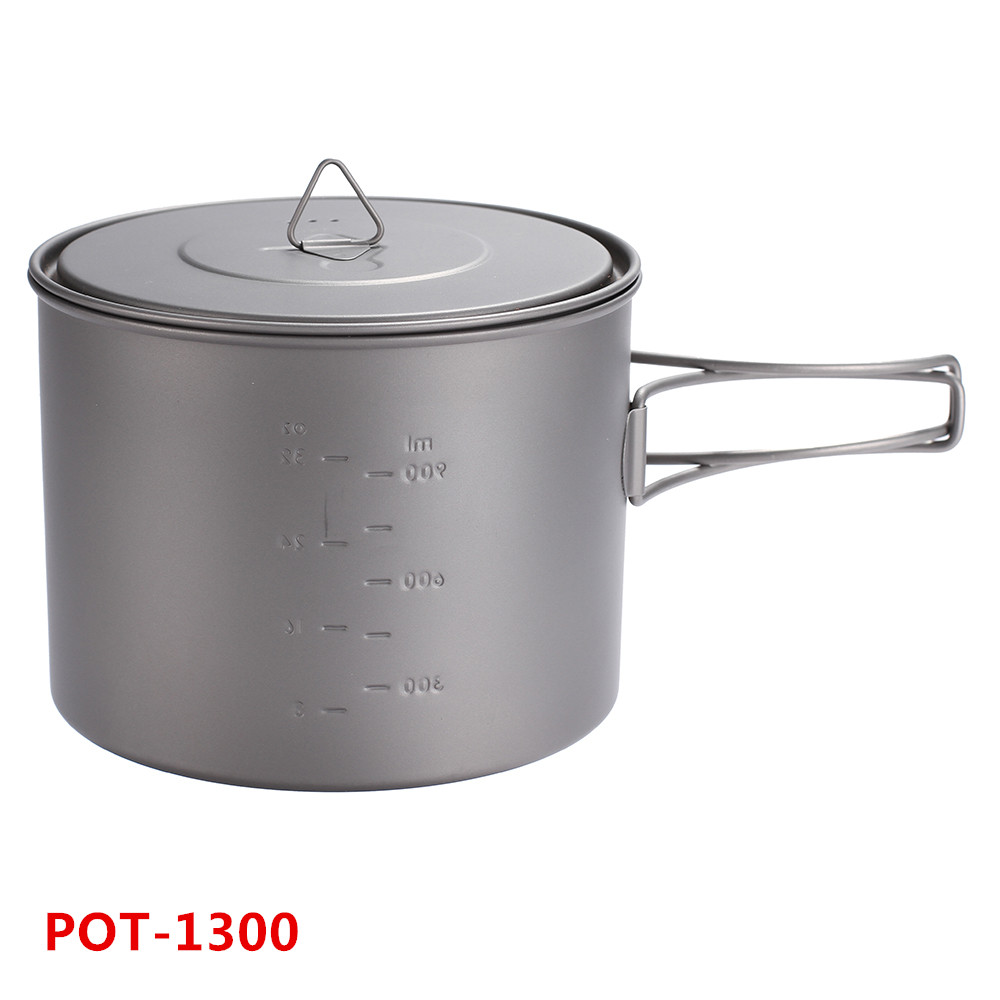 TOAKS Outdoor Travel Ultralight Titanium Ti Pot With Heat Resistant Folding Handle Tableware Pot 1300ml toaks pot 1350 ultralight titanium 1350ml pot with bail handle outdoor camping tableware