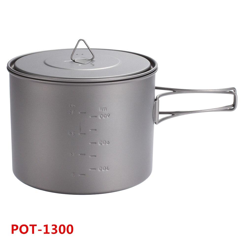 TOAKS extérieur voyage ultra-léger titane Ti Pot avec résistant à la chaleur poignée pliante vaisselle Pot 1300 ml
