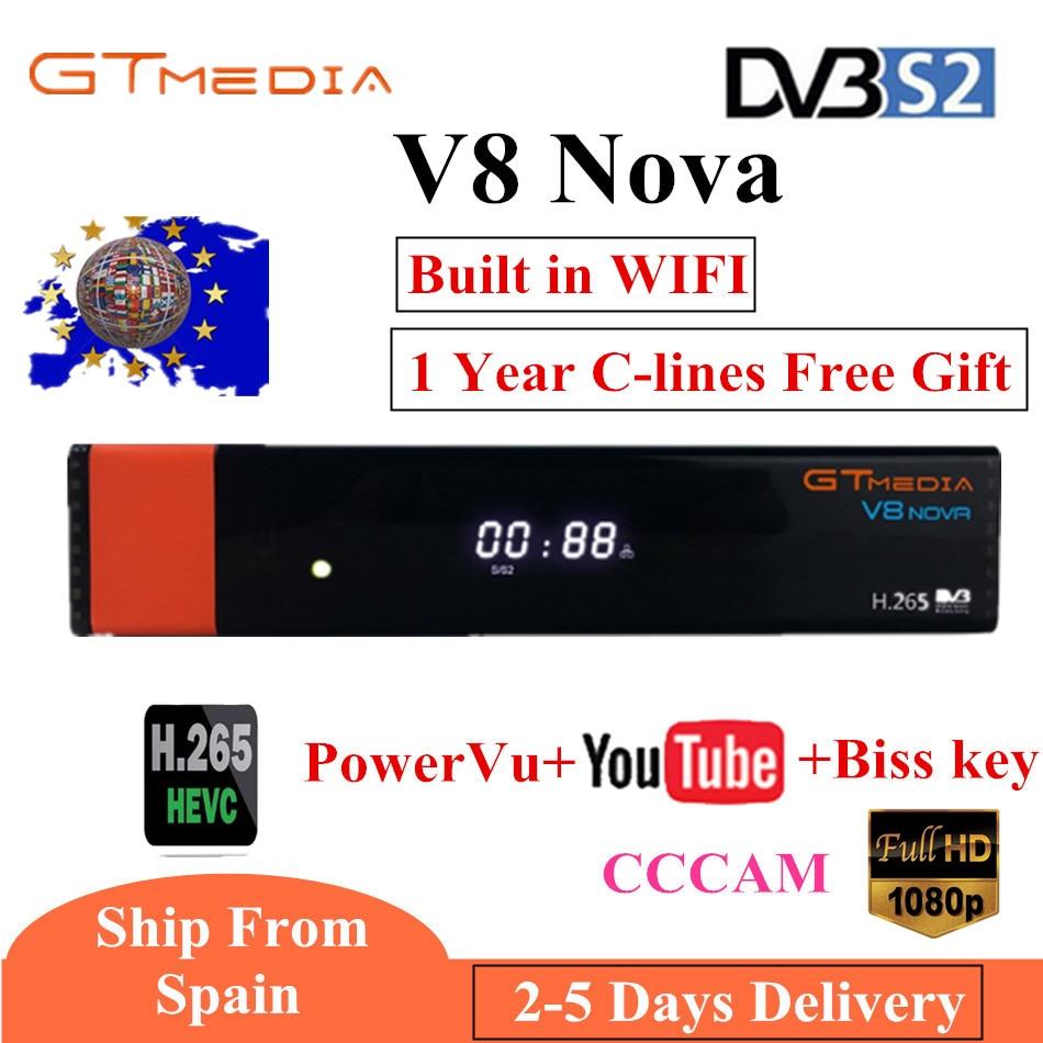 GTmedia V8 Nova construit WIFI DVB-S2 Freesat V8 Super récepteur TV Satellite H.265 V8 Super récepteur avec Europe 7 lignes pendant 1 an