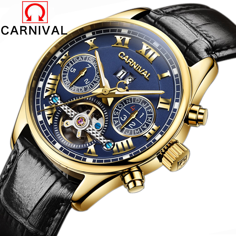 цены Men Watches Top Brand Carnival Luxury Military Sport Luminous Clock Genuine Leather Strap Automatic Mechanical Tourbillon Watch