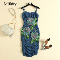 Mifairy Runway Dress 2017 Navy Blue Spaghetti Straps Solid Flowers Sequins Bodycon Women Dress Brand Same Style Vestidos P061772