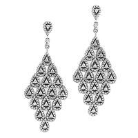 Dangle Earrings 100% 925 Sterling Silver Jewelry Cascading Glamour Large Hanging Earrings FANDOLA Fashion Earrings for Women