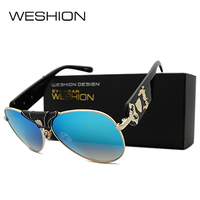 2017 WESHION Pilot Men Women Sunglasses Leather Frame Gradient Coating Reflective Mirror Lens Oculos De Sol