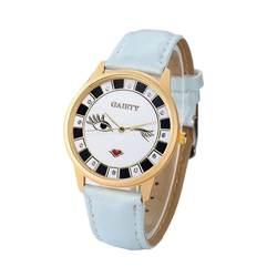 Для женщин из мягкой искусственной кожи на кварцевые часы девушки Карамельный цвет мультфильм губы Печать Наручные часы женские блестящие