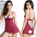 2017 Christmas gift wine red Perspective gauze sexy lingerie hot chemise+thongs erotic lingerie set lenceria sexy costumes