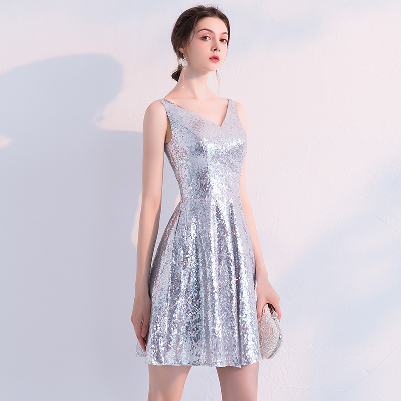2019 Silver   Cocktail     Dress   Cheap V Neck A Line Sleeveless Zipper Graduation Party   Dress   Elegant Fashion   Cocktail     Dress   LYFY04