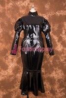 Sexy Lockable Black PVC Sissy Maid Long Tight Dress Cosplay Costume Uniform[P004]