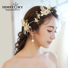 HIMSTORY Handmade Romantic  Beaded Flower Leaf Bridal Hairclips Hairpins Gold Color Vine Wedding Hair Accessories