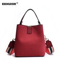 EXCELSIOR Solid Srub Women's Bags Bucket Bag Beach Handbag Casual Shoulder Messenger Portable Crossbody Bag with 3 Straps G2152