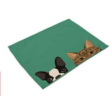 """Image 2 - CAMMITEVER 12 """"x 16"""" мультфильм кошки собаки ткань салфетка для закусочной вечерние рождественские принадлежности Свадебная столовая салфетка Хлопок Лен-in Столовые салфетки from Дом и животные"""