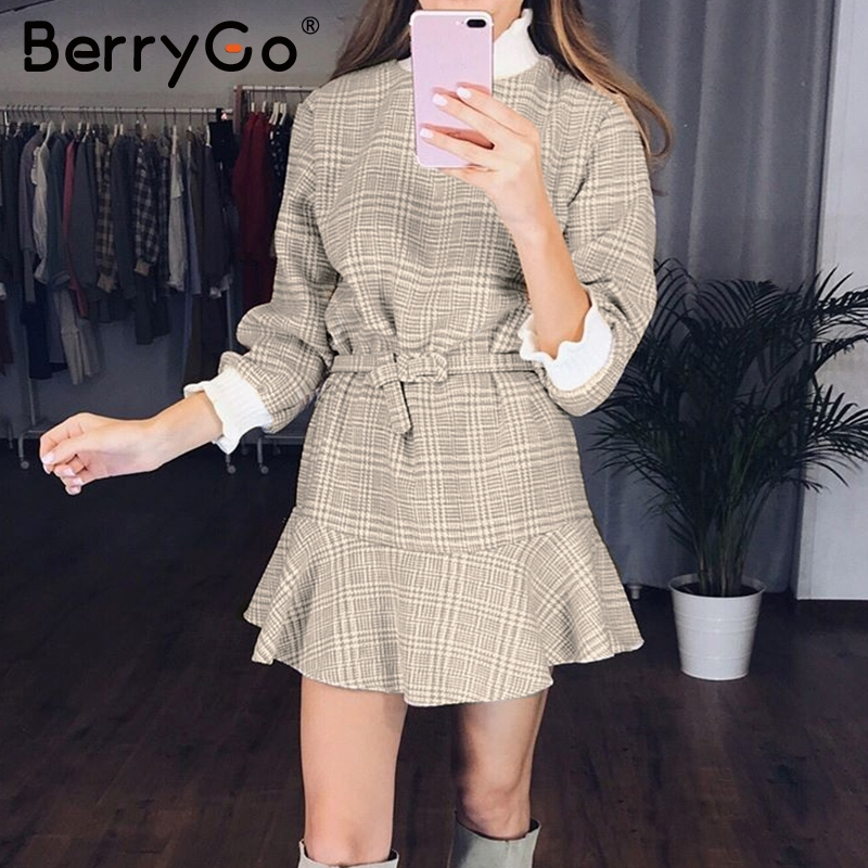 Image 2 - BerryGo Winter plaid mini dresses women Turtle neck tweed short dress female Vintage ruffle sash autumn office ladies vestidosDresses   -
