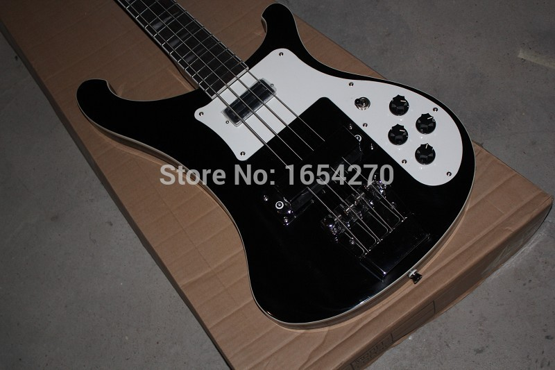 2017 new arrival + Rickedbacker black custom electric bass guitar with double cable jack inputs SALE ! 151112
