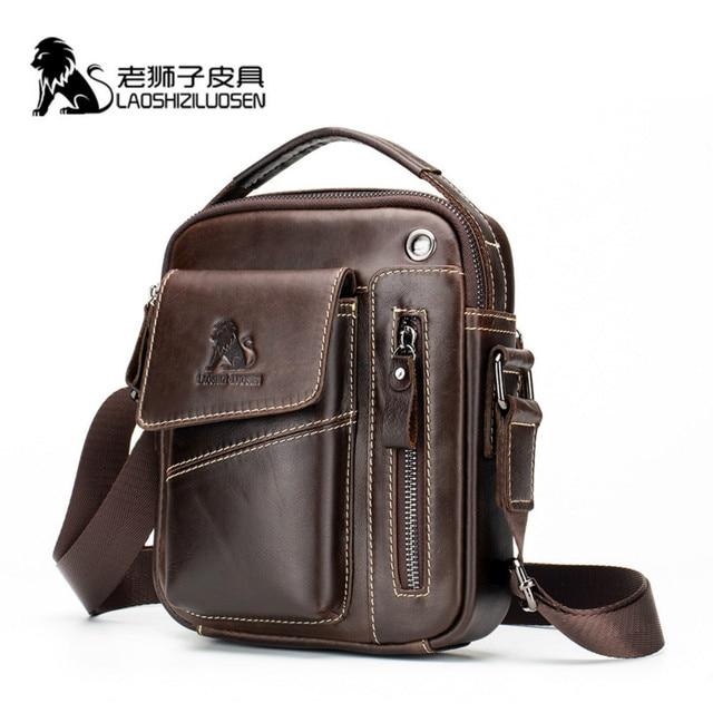LAOSHIZI Genuine Cow Leather Messenger Bag Men Handbag Chest Crossbody Shoulder Bag Mens bag Tas Business Small Male Bolsas Sac