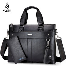 Business Vintage Men Leather Briefcase for Men Laptop Briefcase Leather Messenger Bag Travel Bag Maletin Portatil  ZR1258