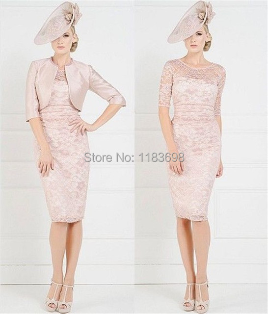 2017 Sheath Pink Knee Length Mother Of The Bride Lace Dress With