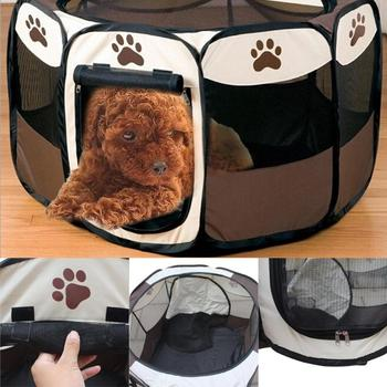 Portable Folding Pet Tent Dog House Cage Dog Cat Tent Playpen Puppy Kennel Easy Operation Octagonal Fence Outdoor Supplies 1