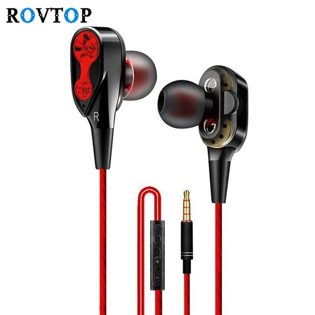 Rovtop słuchawki przewodowe wysoka bas podwójny napęd stereo douszne słuchawki z mikrofonem komputera słuchawki douszne do telefonu komórkowego Z2