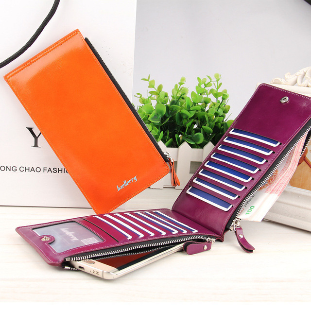 Baellerry Leather Brand Women Wallets Double Zipper Coin Pocket Purse Female Long Card Holders Wallet Ladies Phone Clutch W049