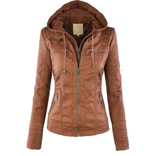 2016 Autumn/Winter Womens New Faux Twinset Detachable Hat Faux Leather Slim Jacket Hoodie Hooded Zip-up Pockets Outerwear Coats