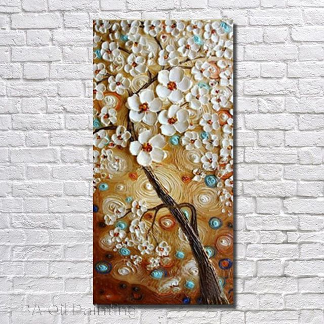 Aliexpress Buy 100hand Painted Abstract White Flower Tree Oil