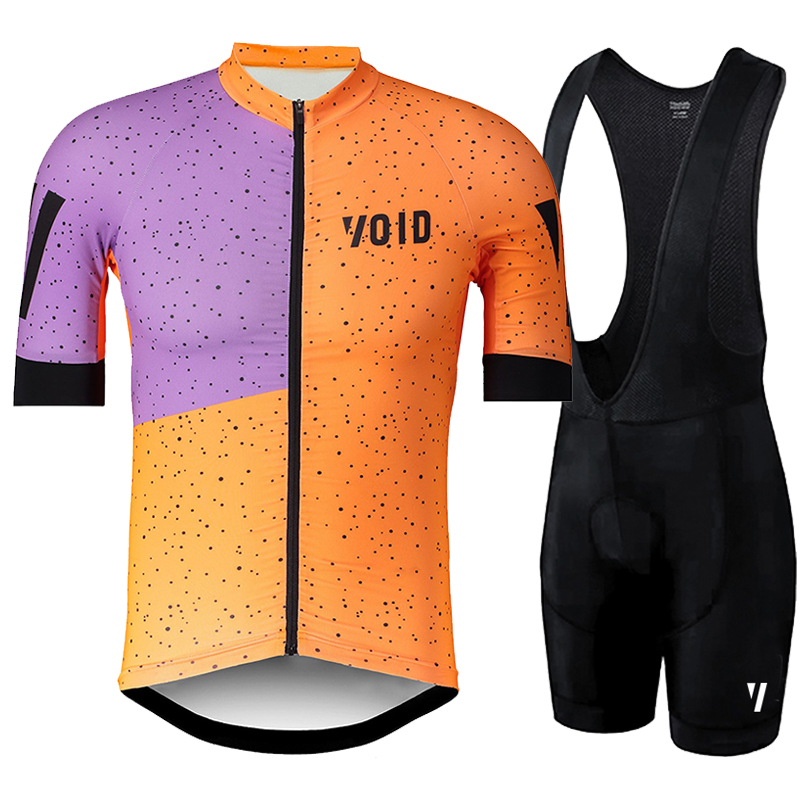Orange cycling shirt with purple square and black pants
