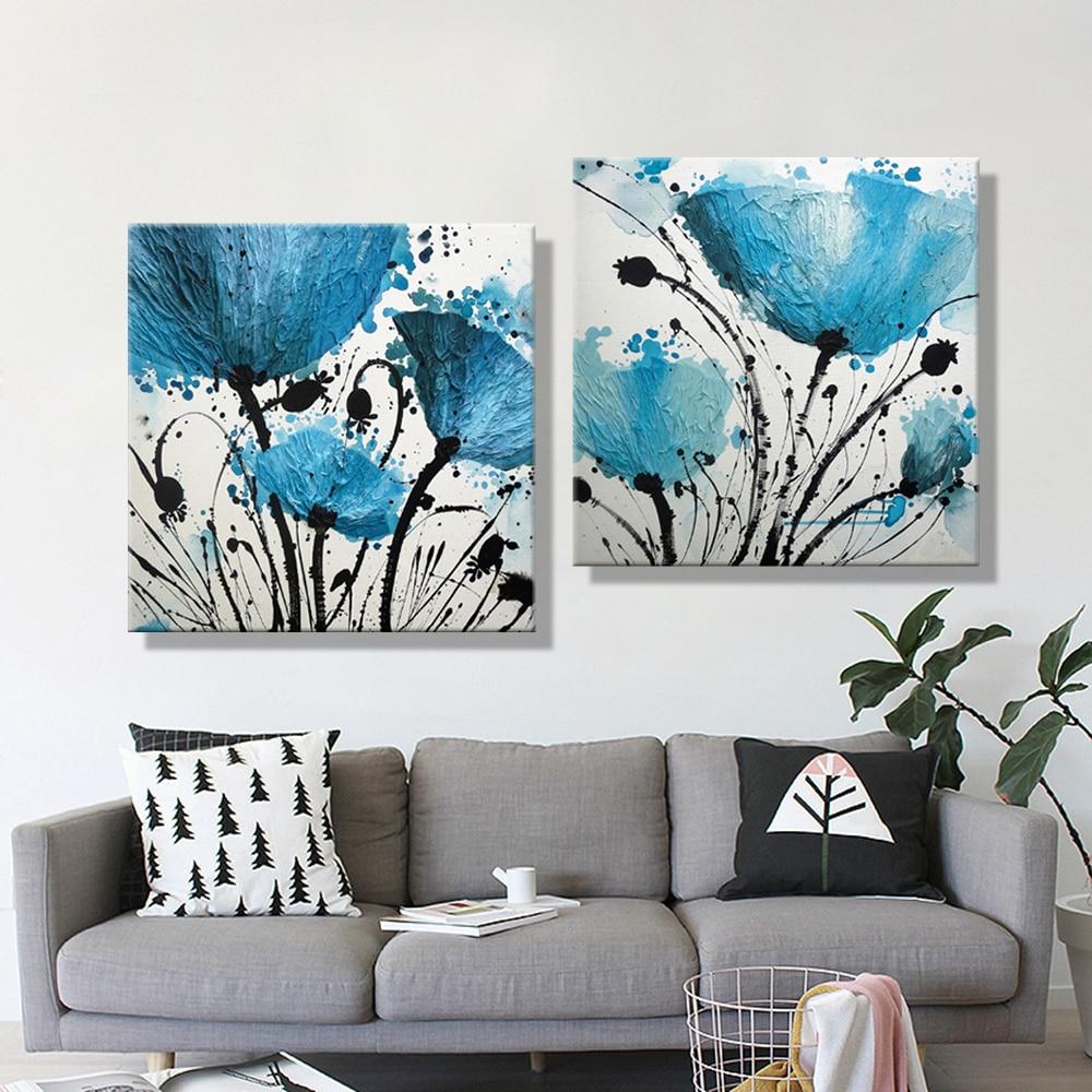 Modern abstract blue flower ink painting 3 piece lotus - Lienzos decorativos ...