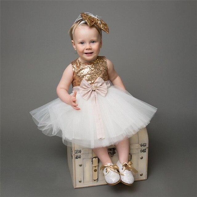 Real Photo Gold Sequins Children Princess Dress Baby Birthday Bow Tutu
