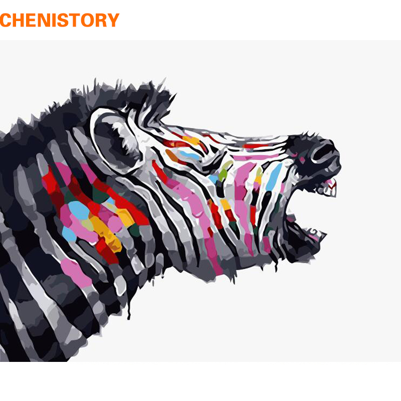 CHENISTORY Frameless Zebra DIY Painting By Numbers Animals Painting Calligraphy Acrylic Paint By Numbers For Home Decors 40x50cm