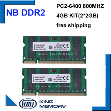 4GB 2x2GB PC2-6400S DDR2-800 800Mhz 2gb 200pin DDR2 Laptop Memory 2G Notebook Module SODIMM RAM Free Shipping