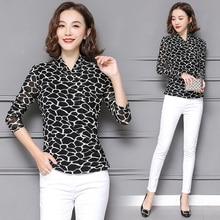 polka dot chiffon blouse flower print female long sleeved v-neck 2018 fashion black autumn Tops  shirts   women clothing 819C3