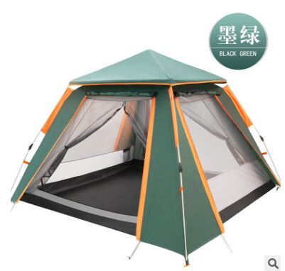 Fully automatic double layer black plastic coated silver glue thickened sunshade rain 5 8 people outdoor camping picnic tent - 6