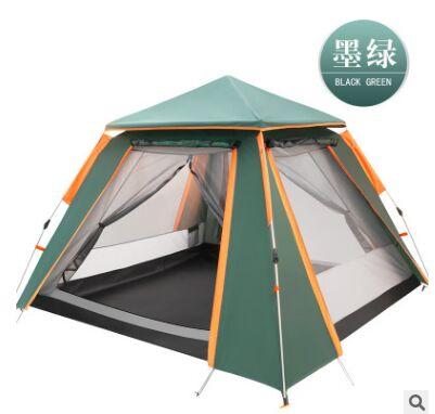 Volautomatische dubbele laag zwarte plastic gecoat zilver lijm verdikte zonnescherm regen 5 8 mensen outdoor camping picknick tent - 6